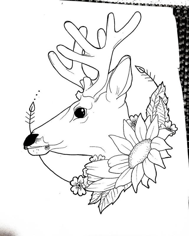 璩先生麋鹿太阳花纹身手稿