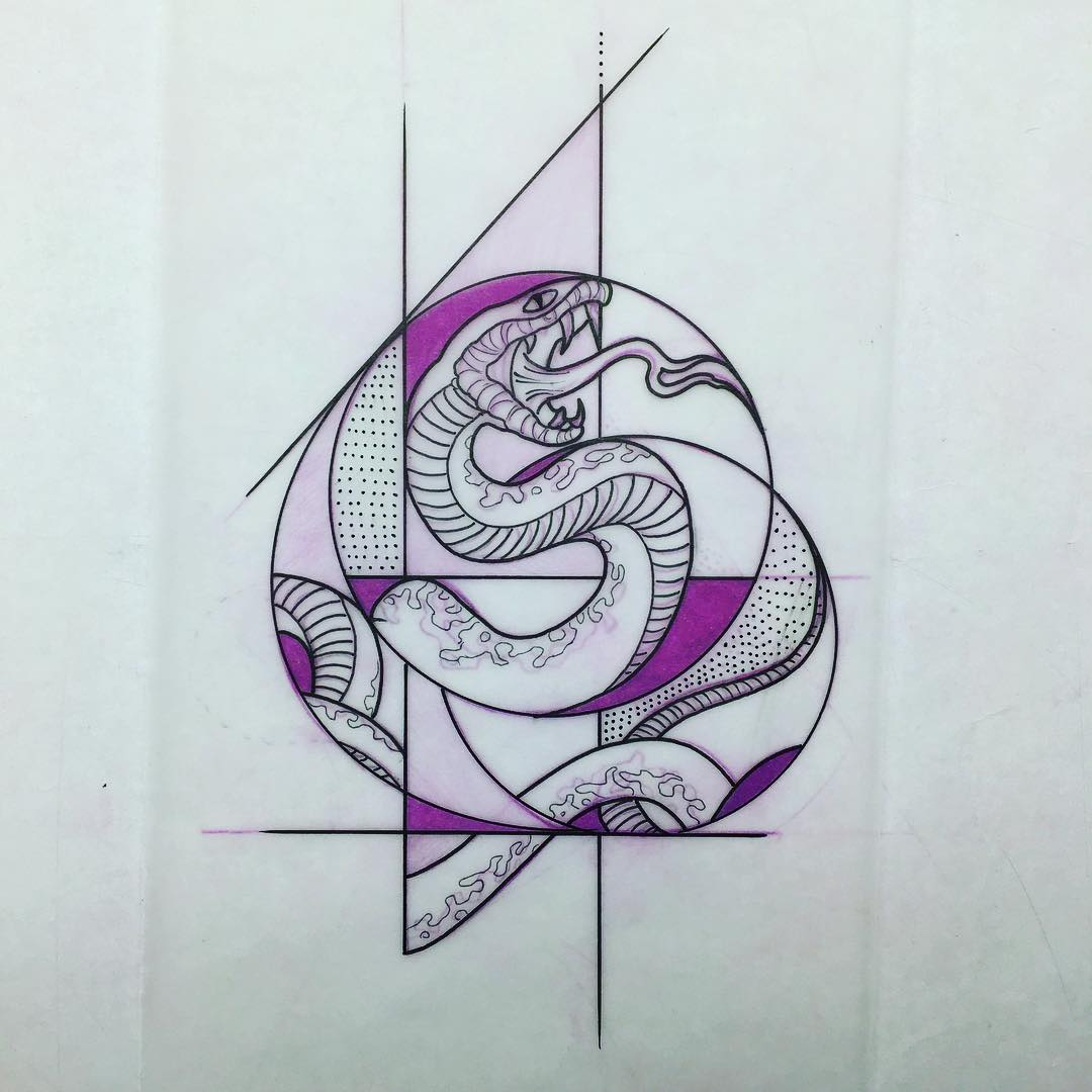 冷先生几何眼镜蛇纹身手稿