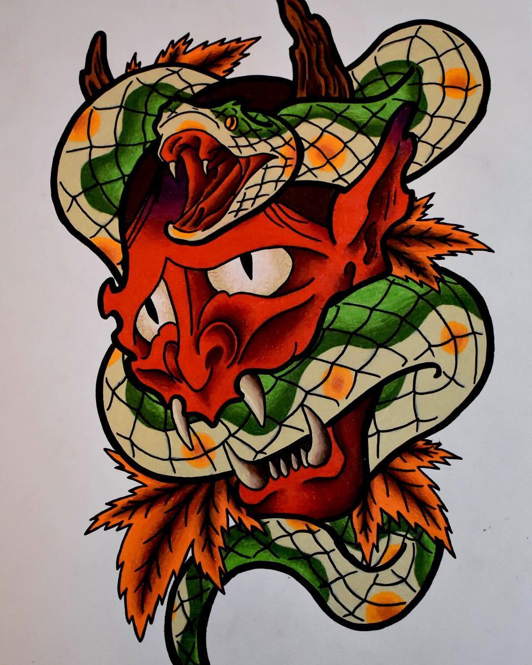 某龙虾店老板秦先生般若蛇纹身手稿